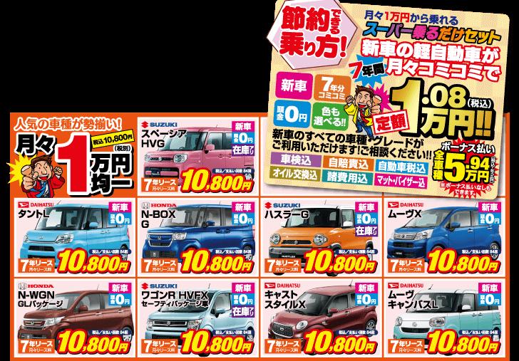 新車の軽自動車が7年間、車検や税金などもコミコミで毎月定額1万円~