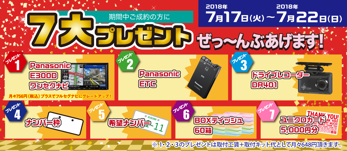 7大特典、Panasonic E300D ワンセグナビ、Panasonic ETC、ドライブレコーダーDR401、ナンバーワク、希望ナンバー、BOXティッシュ60箱、ユニクロカード5.000円分を全部プレゼントします!