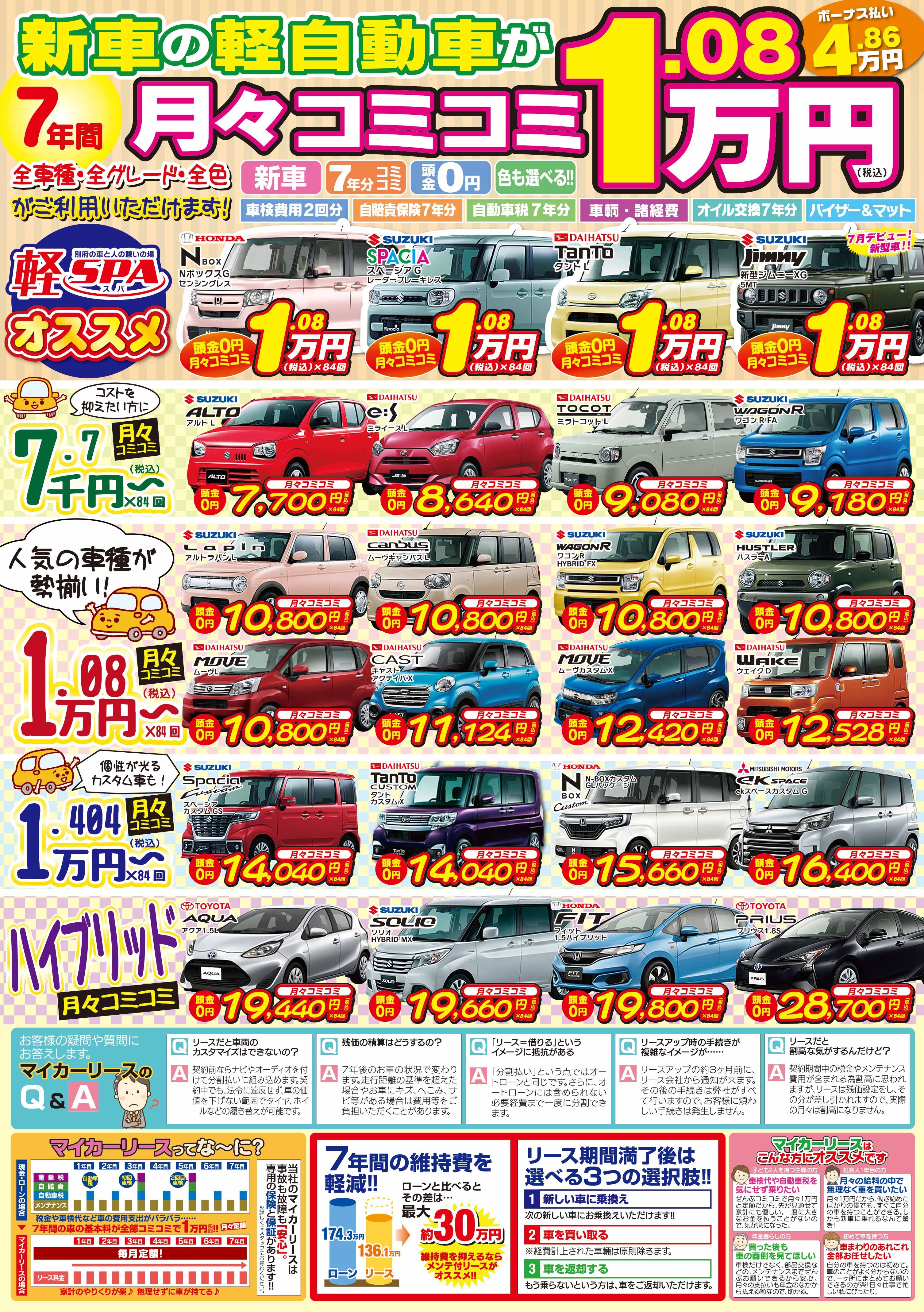 新車の軽自動車が月々コミコミ1.08万円